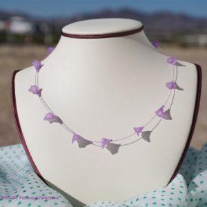 Acrylic Purple Flowers Illusion Necklace Earring Set