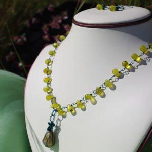 Artistic Wire Jade & Pressed Vegetation Opal Necklace Earring Set