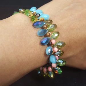Blue Green Sinox Crystal Pink Faceted Coral and Tiger Eyes Beads Bracelet