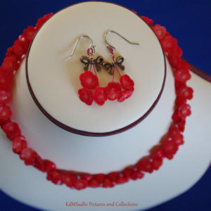 Carved Coral Red Flower Necklace Earring Set