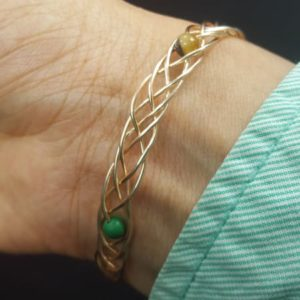 Copper Gold Coated Wire Braided Lil Beads Bracelet