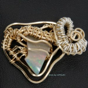 Dodge Inspired Gold & Silver Opal Pendant
