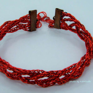 Double Braided Red Coated Copper Wire Bracelet
