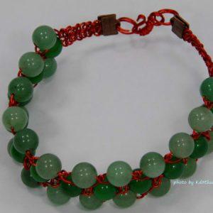 Green Agate & Aventurine Red Wire Bracelet