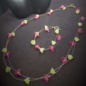Lil Green Magenta Acrylic Flowers Illusion Necklace Earring Set