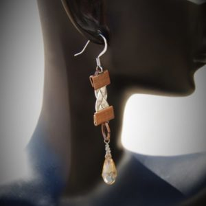 Silver Cord Braided Sinox Crystal Faceted Drop Earrings