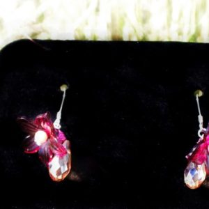 Single Dark Red Flow Sinox Crystal Earrings