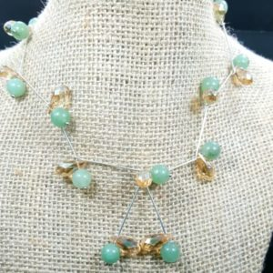 Sterling Silver Green Aventurine Faceted Sinox Crystal Necklace Earring Set