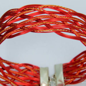 Woven Red Gold Coated Wire Bracelet/Bangle